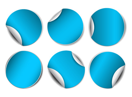 sale sticker: Set of blue round promotional stickers.