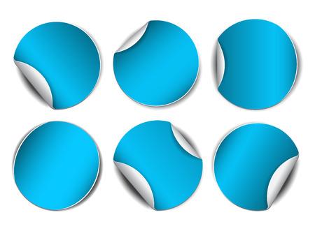 sticker: Set of blue round promotional stickers.