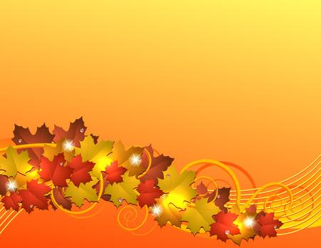 Flying autumn maple leaves background.