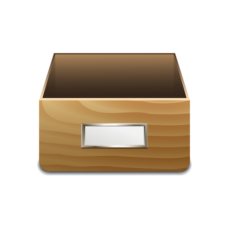 handles: Wooden File Cabinet for Documents. Illustration