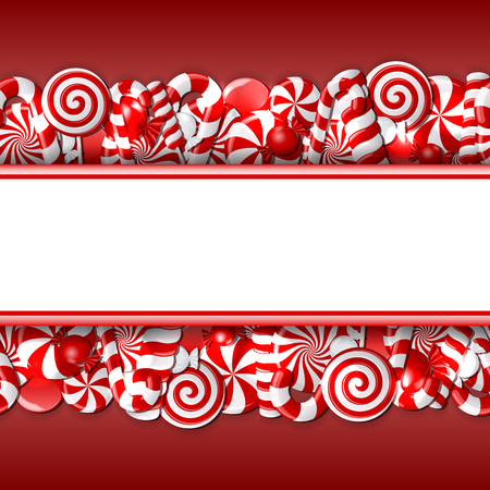 caramel candy: red and white candies. Seamless pattern.