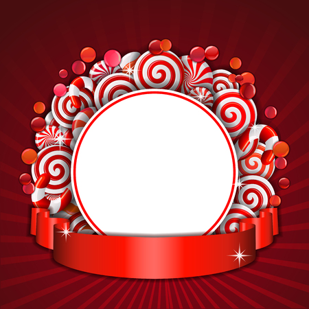 bonbon: Sweet frame of red and white candies with red ribbon.