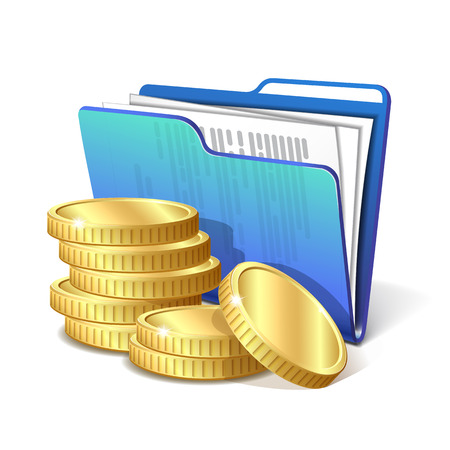 filing documents: Stack of gold coins next to the blue folder with documents, symbol of a successful business project