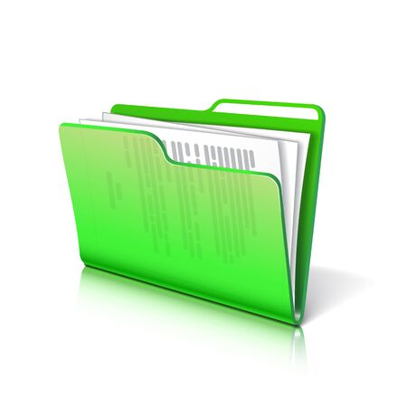 Green transparent folder with papers. Document icon.