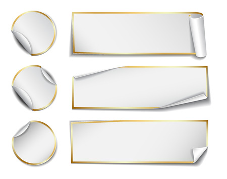rectangular: Set of white rectangular and round promotional paper stickers on white background.