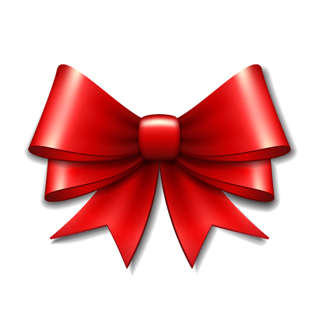 Red gift bow on white background.