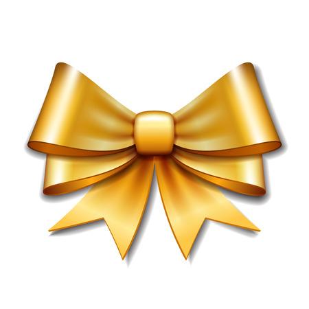 bow ribbon: Golden vector gift bow on white background. Vector illustration Eps 10.