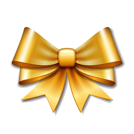 Golden vector gift bow on white background. Vector illustration Eps 10.