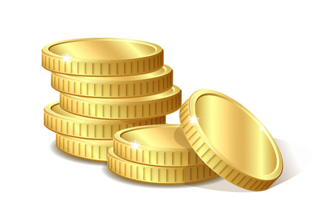 Stos złotych monet, ilustracji wektorowych 10 eps