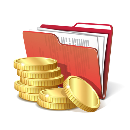 folder with documents: Stack of gold coins next to the red folder with documents, symbol of a successful business project, vector illustration 10 eps