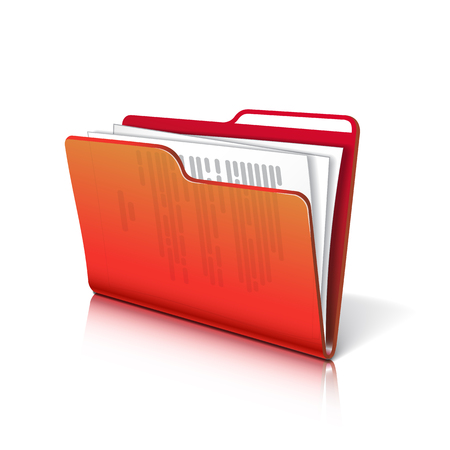 documents: Red transparent folder with papers. Document icon. Vector illustration.