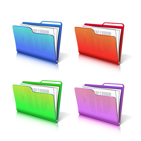 Set of colorful  transparent folder with papers. Document icon. Vector illustration. Illustration