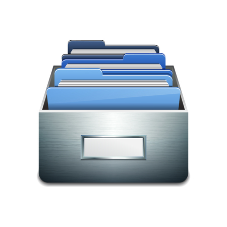 maintaining: Metal filling cabinet with blue folders. Illustrated concept of database organizing and maintaining. Vector illustration isolated on white background