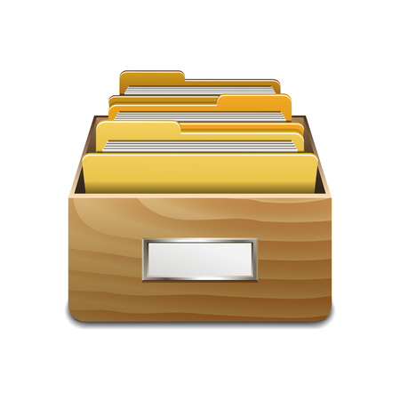 filing cabinet: Wooden filling cabinet with yellow folders. Illustrated concept of database organizing and maintaining. Vector illustration isolated on white background