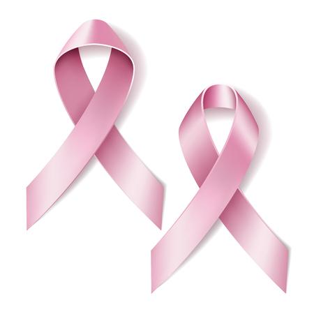 rak: Realistyczne Różowa wstążka na białym tle. ilustracji wektorowych