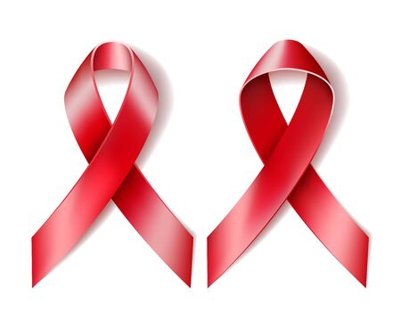 aids awareness ribbon: Realistic red ribbon isolated on white. Symbol of AIDS awareness. Vector illustration