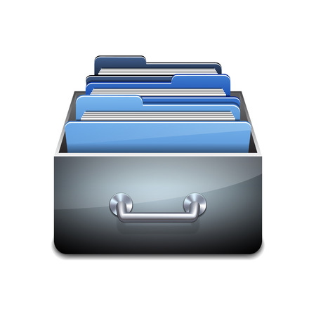 compartment: Metal filling cabinet with blue folders. Illustrated concept of database organizing and maintaining. Vector illustration isolated on white background
