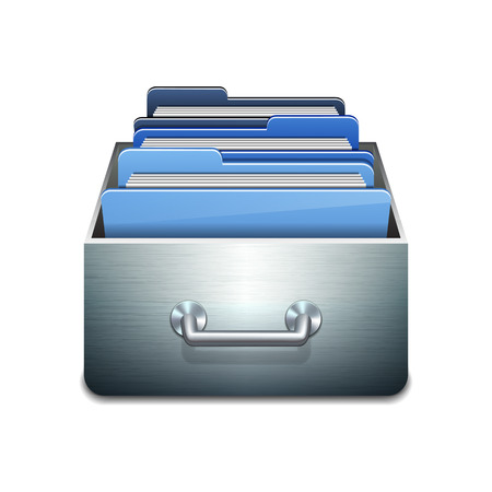 secure files: Metal filling cabinet with blue folders. Illustrated concept of database organizing and maintaining. Vector illustration isolated on white background