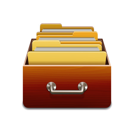 organizing: Wooden filling cabinet with yellow folders. Illustrated concept of database organizing and maintaining. Vector illustration isolated on white background