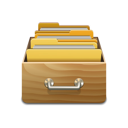 Wooden filling cabinet with yellow folders. Illustrated concept of database organizing and maintaining. Vector illustration isolated on white background