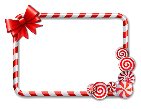 bows: Frame made of candy cane, with red and white candies and red bow. Vector illustration