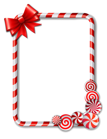 candies: Frame made of candy cane, with red and white candies and red bow. Vector illustration