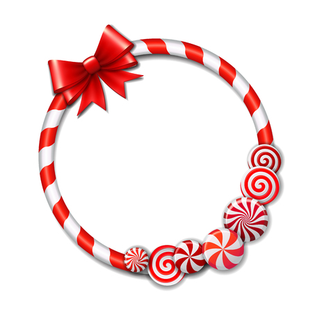 caramel candy: Frame made of candy cane, with red and white candies and red bow. Vector illustration