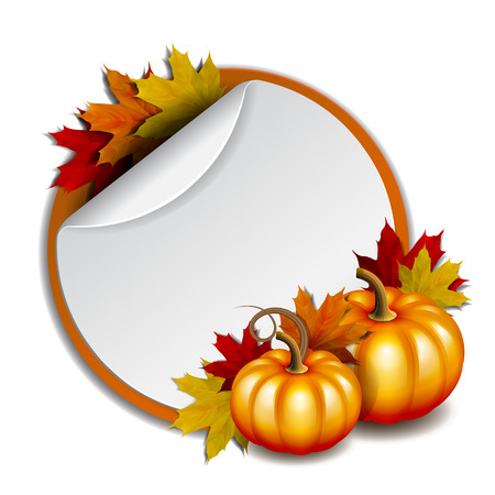 thanks giving: Thanksgiving banner, blank, round promotional stickers with red backdrop. Vector illustration with orange pumpkins and autumnal maple leaves. Vector illustration.