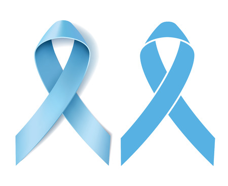 blue ribbon: Prostate cancer ribbon awareness. Disease symbol. Realistic Light blue ribbon and Silhouette Light blue ribbon isolated on white background. Vector illustration Illustration