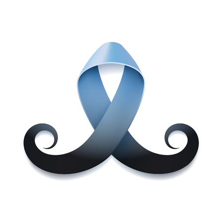Prostate cancer ribbon awareness isolated on white background. Light blue ribbon with mustache. Vector illustration