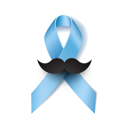 prostate: Prostate cancer ribbon awareness isolated on white background. Light blue ribbon with mustache. Vector illustration