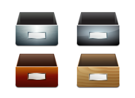 drawers: Set of vector File Cabinets for Documents. Metal and wooden boxes. Vector illustration