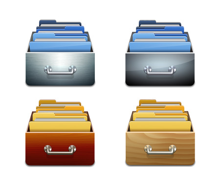 folder: Conjunto de armarios metálicos y de relleno de madera con carpetas de documentos. concepto ilustrado de la organización de base de datos y el mantenimiento. Ilustración del vector aislado en el fondo blanco