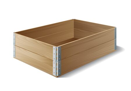 Empty wooden box isolated on white. Vector illustration
