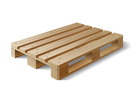 euro pallet: Wooden pallet. Isolated on white. Vector illustration