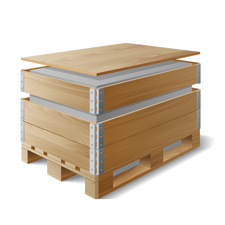 boxed: Wooden box with cargo on a pallet. Example of product packaging. The symbol transport delivery. Vector illustration