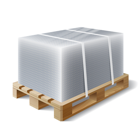 Image of cargo wrapped bubble wrap on wooden pallet. Symbol transport shipping. Vector illustration Illustration