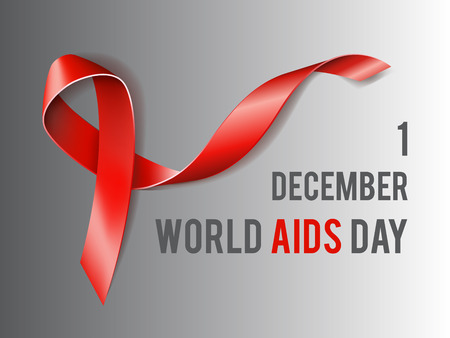 alert ribbon: 1st December World Aids Day concept with text and red ribbon of aids awareness. Vector illustration