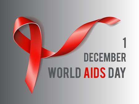 relaciones sexuales: Primera concepto diciembre D�a Mundial del Sida con el texto y la cinta roja de la conciencia del SIDA. Ilustraci�n vectorial Vectores