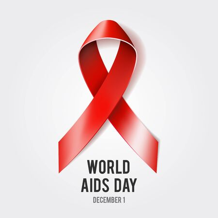 aids awareness: 1st December World Aids Day concept with text and red ribbon of aids awareness. Vector illustration