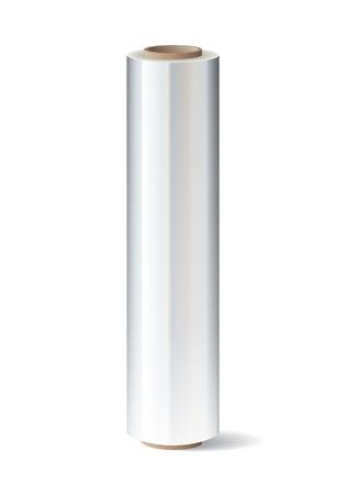 rollo pelicula: Rollo de film estirable envolver de plástico sobre fondo blanco. ilustración vectorial
