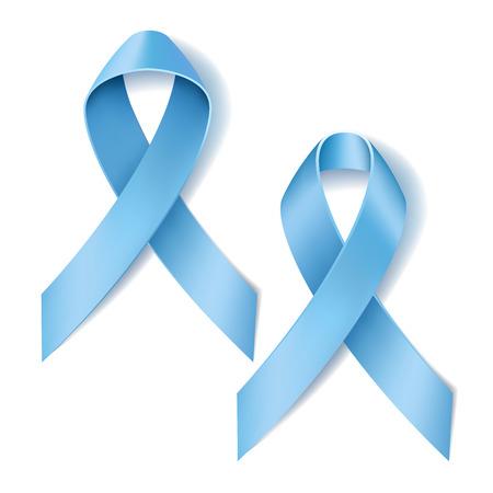 hope symbol of light: Prostate cancer ribbon awareness. Disease symbol. Realistic Light blue ribbon isolated on white background. Vector illustration