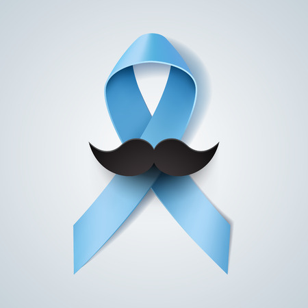 Prostate cancer ribbon awareness. Light blue ribbon with mustache. Vector illustration