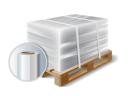 Image of cargo wrapped plastic stretch film on wooden pallet. Symbol transport shipping. Vector illustration