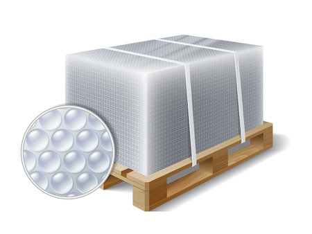 wooden: Image of cargo wrapped bubble wrap on wooden pallet. Symbol transport shipping. Vector illustration Illustration