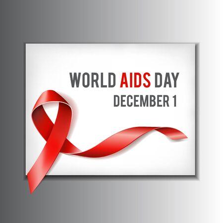 relaciones sexuales: Primera concepto diciembre Día Mundial del Sida con el texto y la cinta roja de la conciencia del SIDA. Ilustración vectorial Vectores