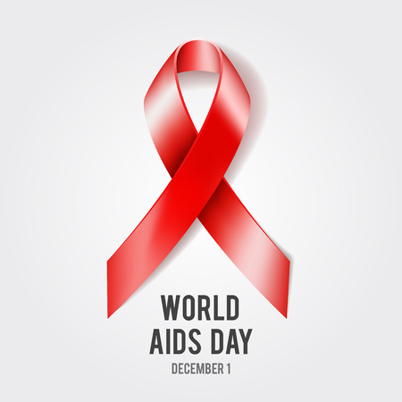 aids virus: 1st December World Aids Day concept with text and red ribbon of aids awareness. Vector illustration
