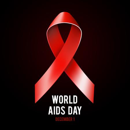 relaciones sexuales: Primera concepto diciembre Día Mundial del Sida con el texto y la cinta roja de la conciencia de las ayudas en el fondo negro. Ilustración vectorial