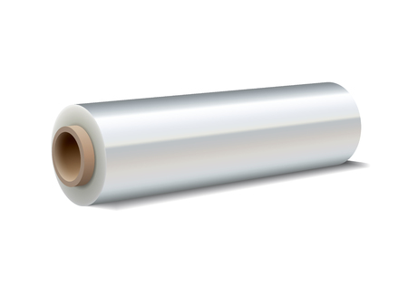 stretches: Roll of wrapping plastic stretch film on white background. Vector illustration