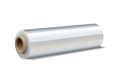 kunststoff: Roll Pack Kunststoff-Stretchfolie auf weißem Hintergrund. Vektor-Illustration